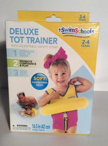 NIB Swim School Deluxe Tot Trainer 2-4 Years Soft Fabric Adj Safety Strap Yellow