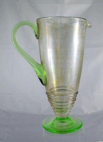 Pitcher Large Martini Vintage Green Vaseline Footed & Handle