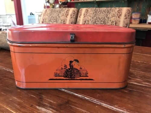 "Antique Bread Box Painted Tin Metal Grain Vintage 6.5""T 15.5""W 9.5"" Deep"