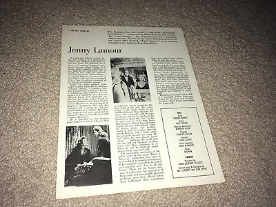 JENNY LAMOUR Movie Ad Sheet 1947 Henri Clouzot French Crime Film Simone Renant