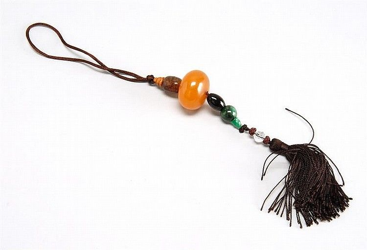 Asian / Chinese Amber & Jadeite Pendant w/ Key Tassels & Various Beads