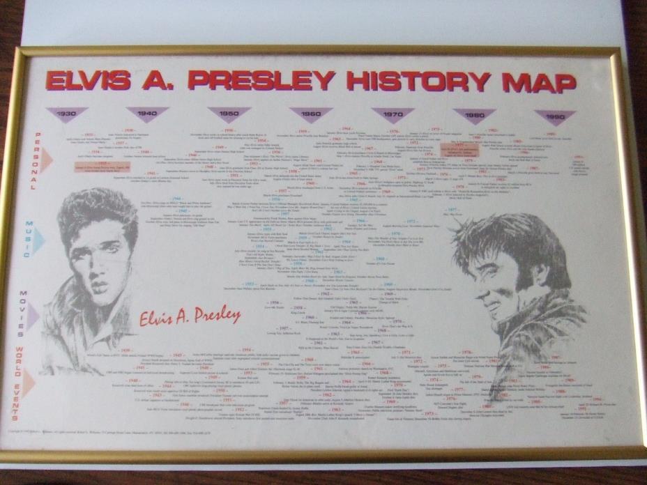 Elvis A Presley Musical History Map framed 21