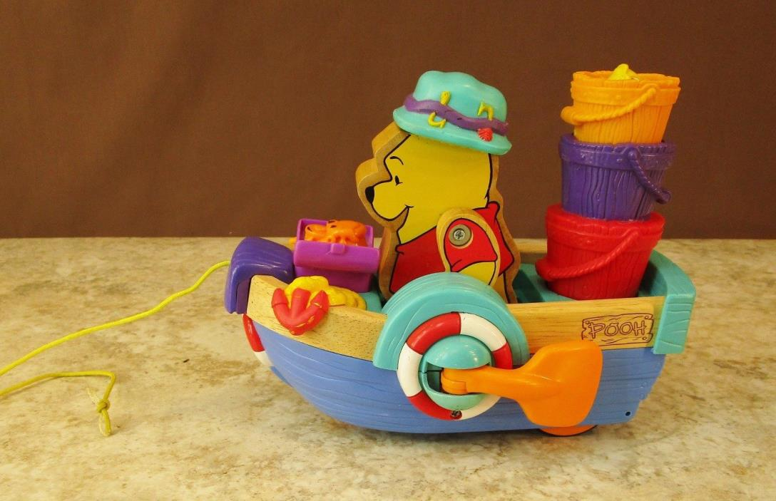 MATTEL 2001 WINNIE POOH SING 'N ROW BOAT PULL TOY MUSICAL BATTERY OPERATED WORKS
