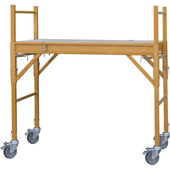 Multipurpose Scaffolding 4' Mini Adjustable Platform Height Ladder Tools Steel