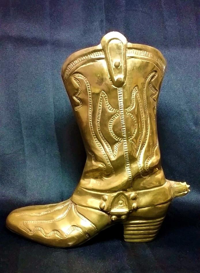 Large Vintage Brass? Old West Cowboy Boot Bookend Paper Weight