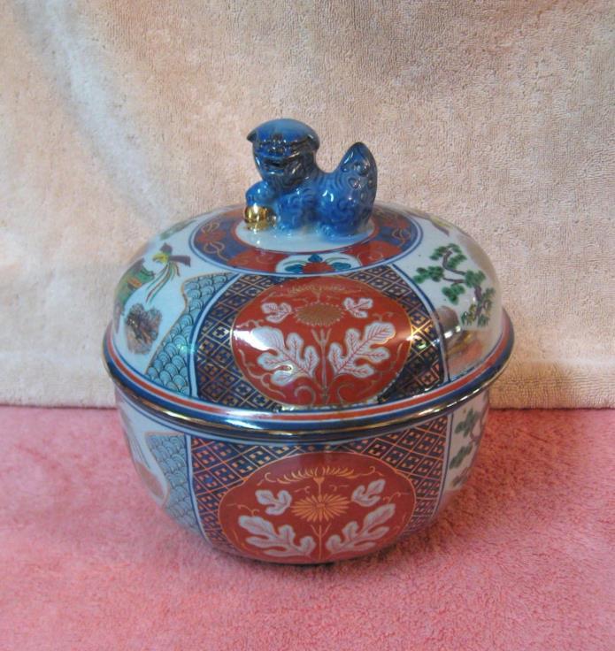 Vtg IMARI Japan Heavy Ceramic Covered Bowl Dish w/ Foo Dog