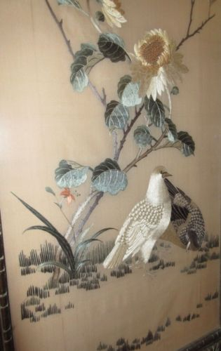 IMPECCABLE QUALITY 1900'S ANTIQUE CHINESE SILK EMBROIDERY WITH DOVES