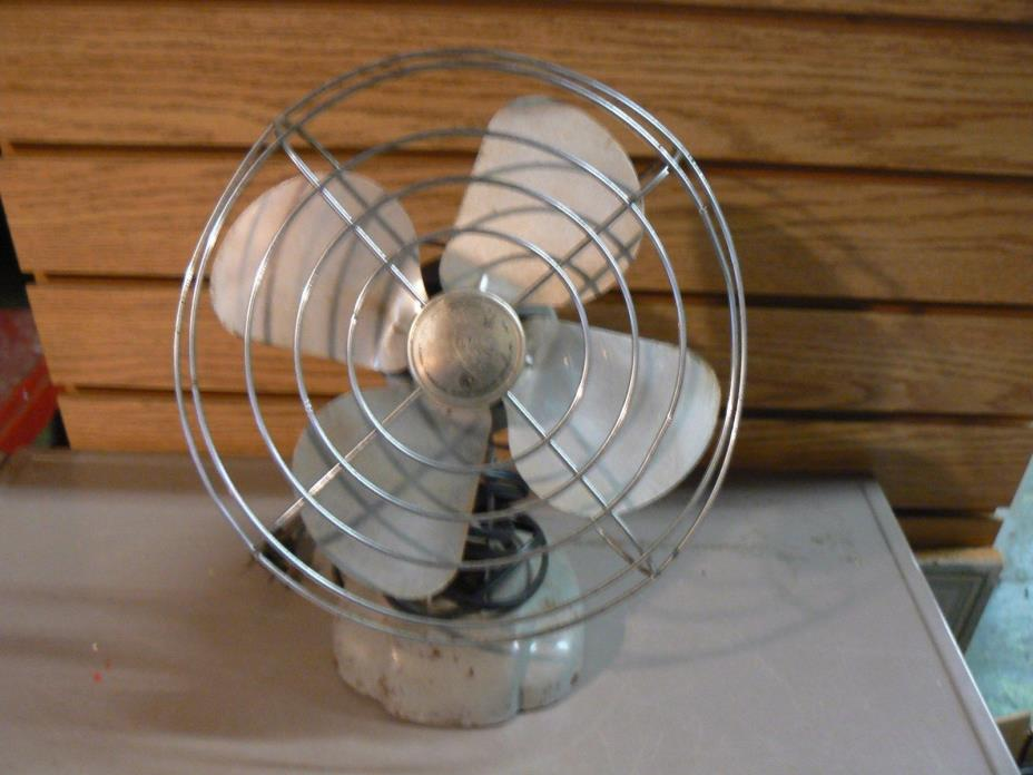 Manning Bowman Vintage Metal Desk Fan Industrial Steampunk Model 085002 Works