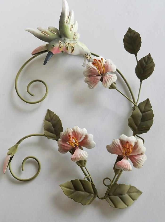 Vintage Hand Painted Metal 3D Decorative Hanging Wall Flowers and Hummingbird