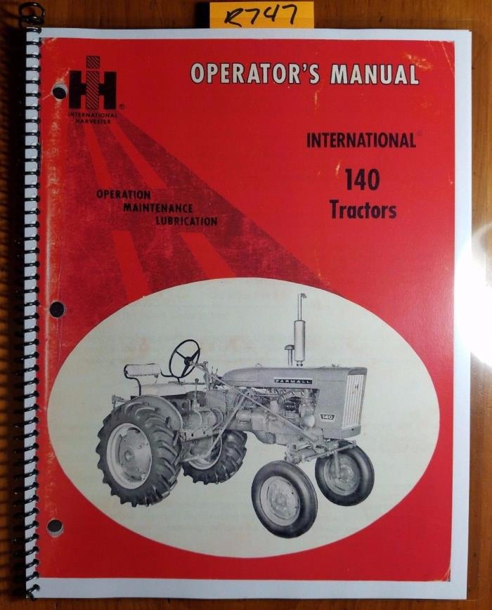 IH International McCormick Farmall 140 Tractor Owner Operator Manual R6 Rev4 '73