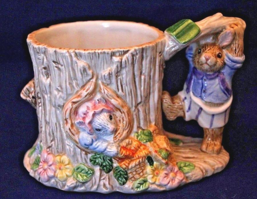 Fitz & Floyd Bunny in Tree Stump Easter Candy Holder/Planter, 1996