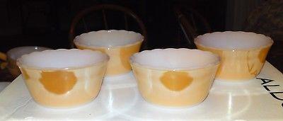 4 Fire King Peach Lustre Ware Dessert Ramekins