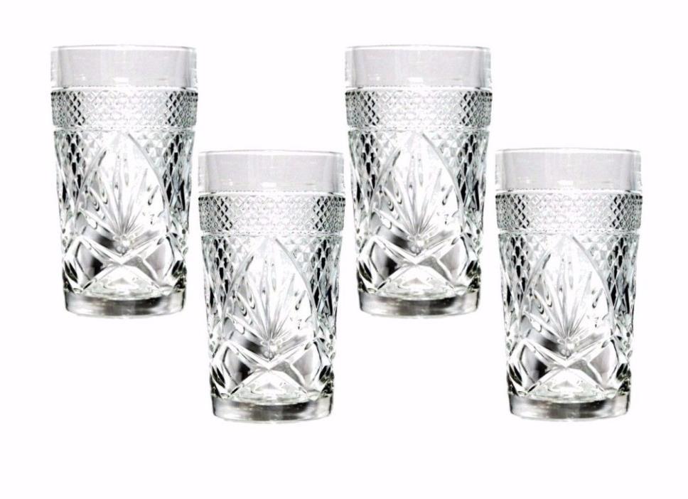 Set 4 Luminarc Antique Clear Highball Glasses 12 oz CRISTAL D'ARQUES-DURAND EUC