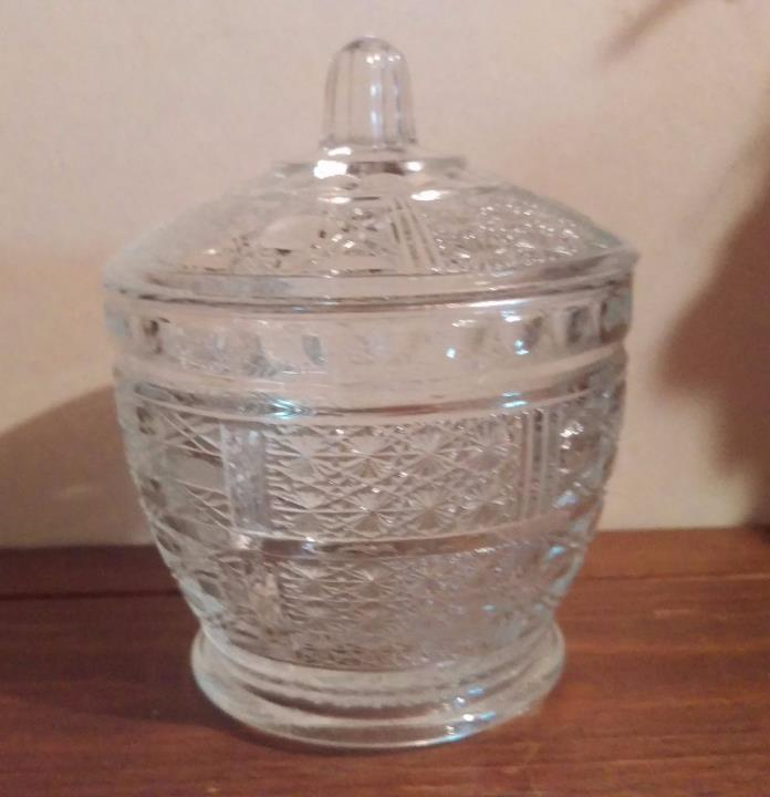 Decorative Cut Glass Candy Dish With Lid.