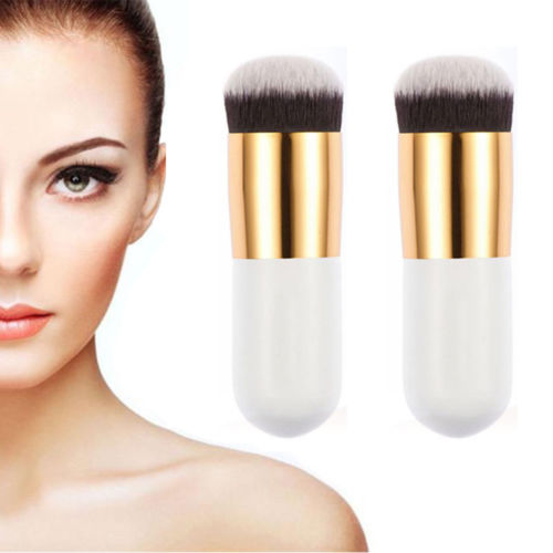 2Pcs Face Kabuki Cosmetic Powder Makeup Brush Flat Top Foundation Concealer Tool