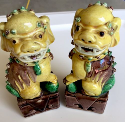 Vintage Chinese Antique Fu Foo Dog Small Yellow Guardian Statues