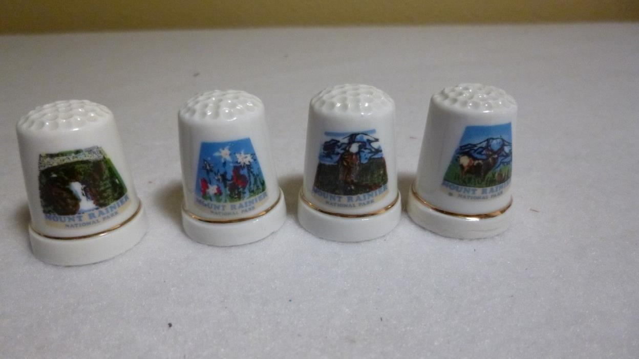 Collectable THIMBLES (4) from MOUNT RAINER  - Porcelain - EUC