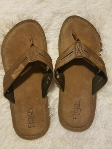 Flojos Men's Flip Flops, Sandals, Slippers  Cognac Brown  Size 11