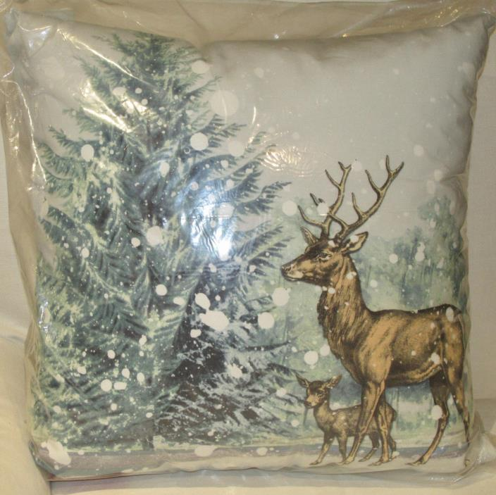 Pottery Barn STAG SNOW INDOOR/OUTDOOR Pillow 20 x 20 Winter Cabin~Deer~Tree