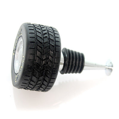 Tabletop RACING TIRE WINE STOPPER Metal Red Neck Bar Ware 21149