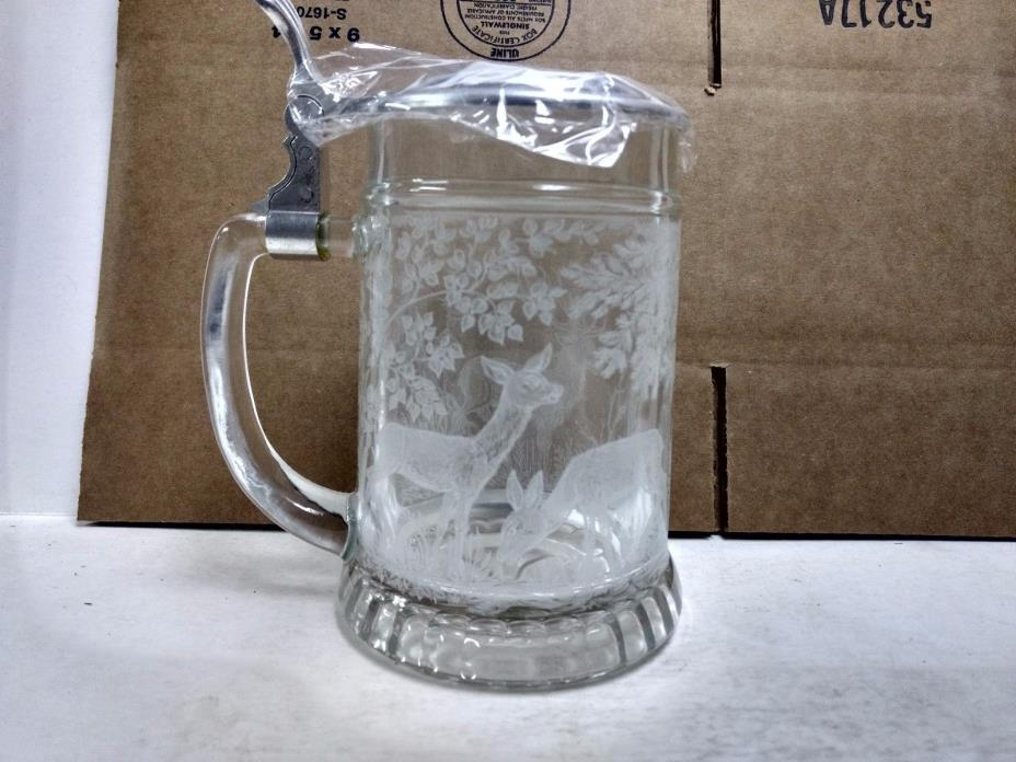 Vintage Pewter Etched Glass Deer Drinking Stein Made In Germany Mug        hd102