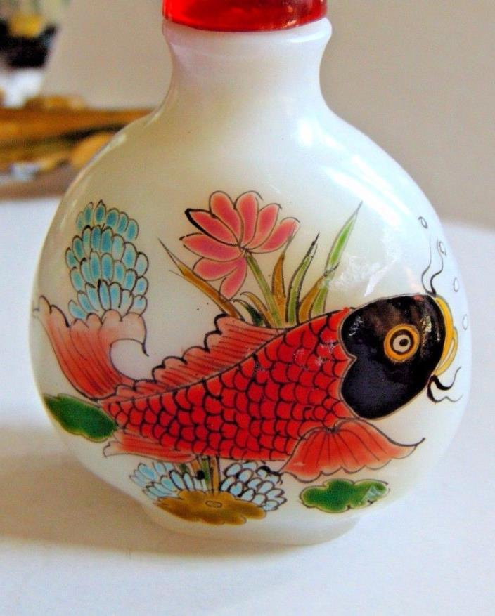 Antique Chinese Koi Fish snuff bottle