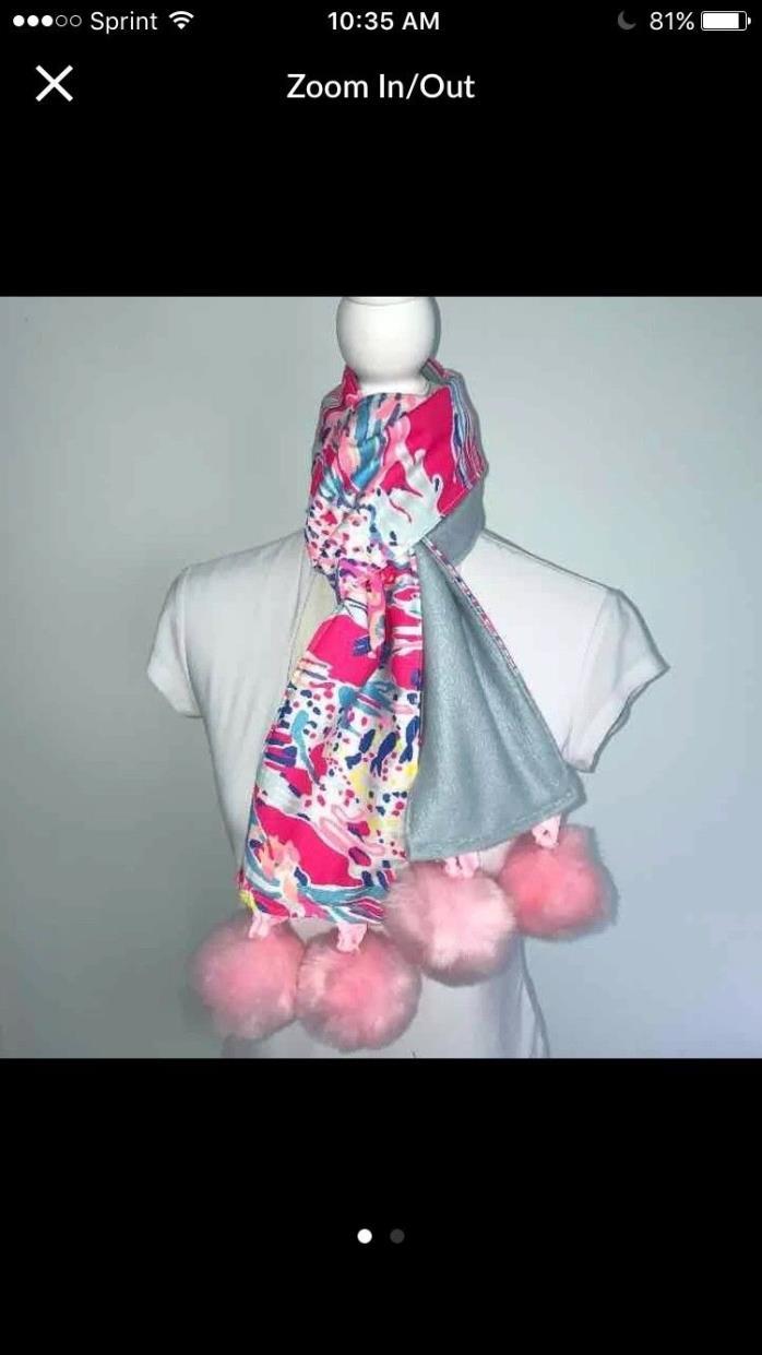 Lilly Pulitzer Sunken Treasures fabric Fleece Pompom Scarf