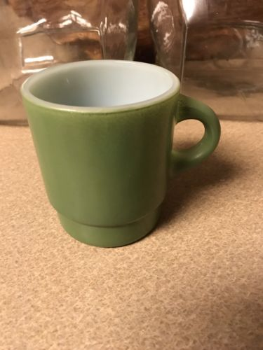 Vintage Anchor Hocking  FIRE-KING Green Stacking Glass Mug Coffee Cup