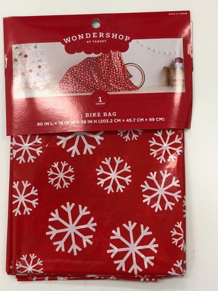 Large Bike Gift Bag Wrap Red w/ White Snowflakes 80 X 18 X 39 xmas present bday
