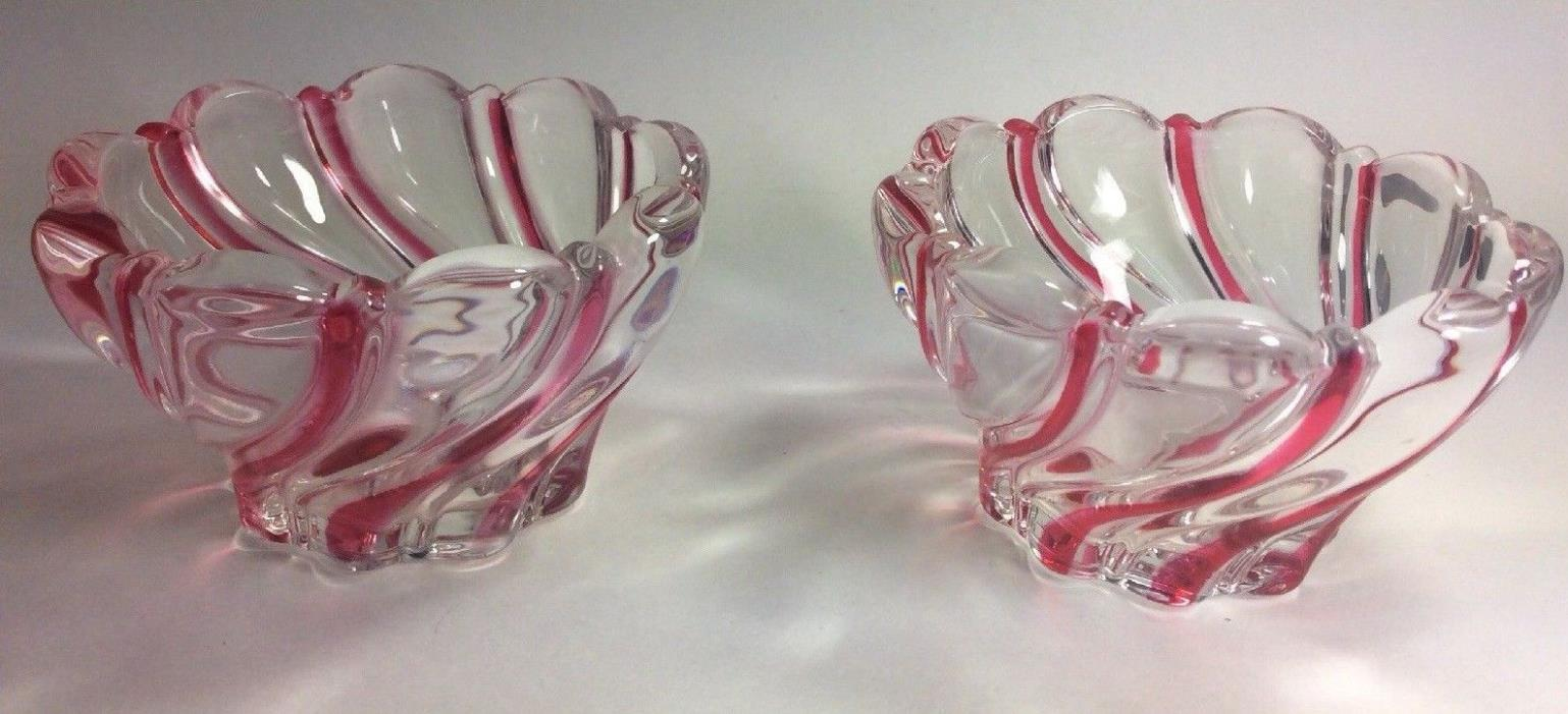 Pair Mikasa Crystal Red SWIRL Bowl Candy Nut Dish Ribbon Glass 1997 PEPPERMINT