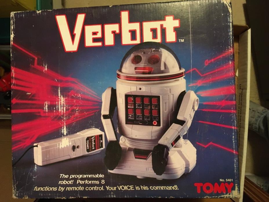 Vintage 1980's TOMY Verbot Robot with Instructions and Box