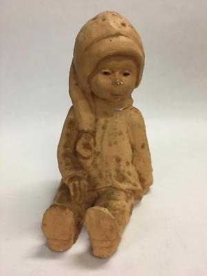 Dave Grossman Designs Vintage Clay sculpture of a sitting girl (1960s)