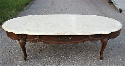 VINTAGE OVAL COFFEE TABLE FAUX MARBLE TOP-