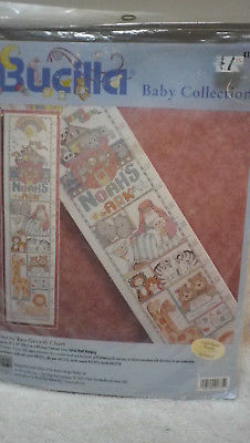 Bucilla Baby Collections counted cross stitch TWO BY TWO GROWTH CHART Noah's Ark