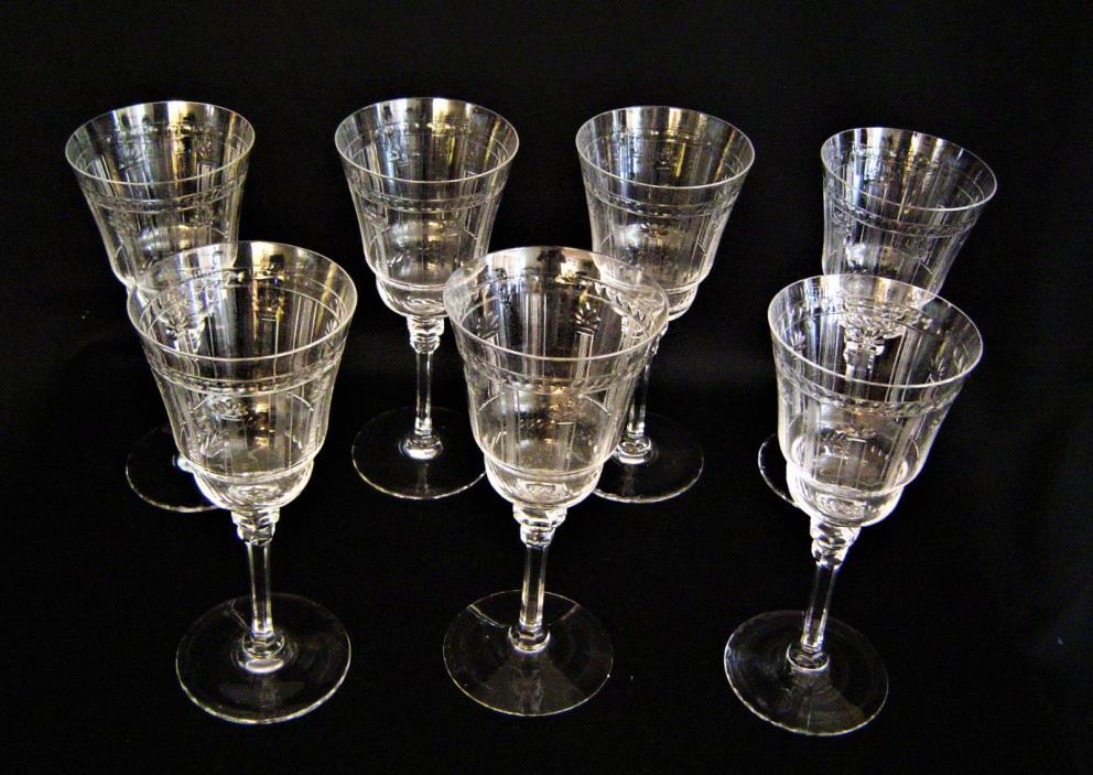 Fabulous set of 7 Red Wine or Water Stemware Circa 1920