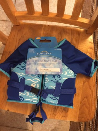 SUN & SKY M-L 1 PIECE SWIM FLOAT SUIT FOR AGES 4-5 YEARS 39-55 lbs *NEW*