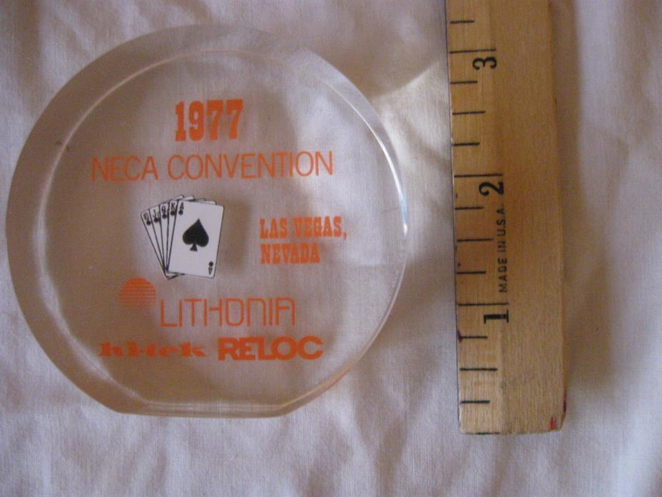 Vntg National Electrical Contractors Association NECA 1977 Paperweight CL24-3