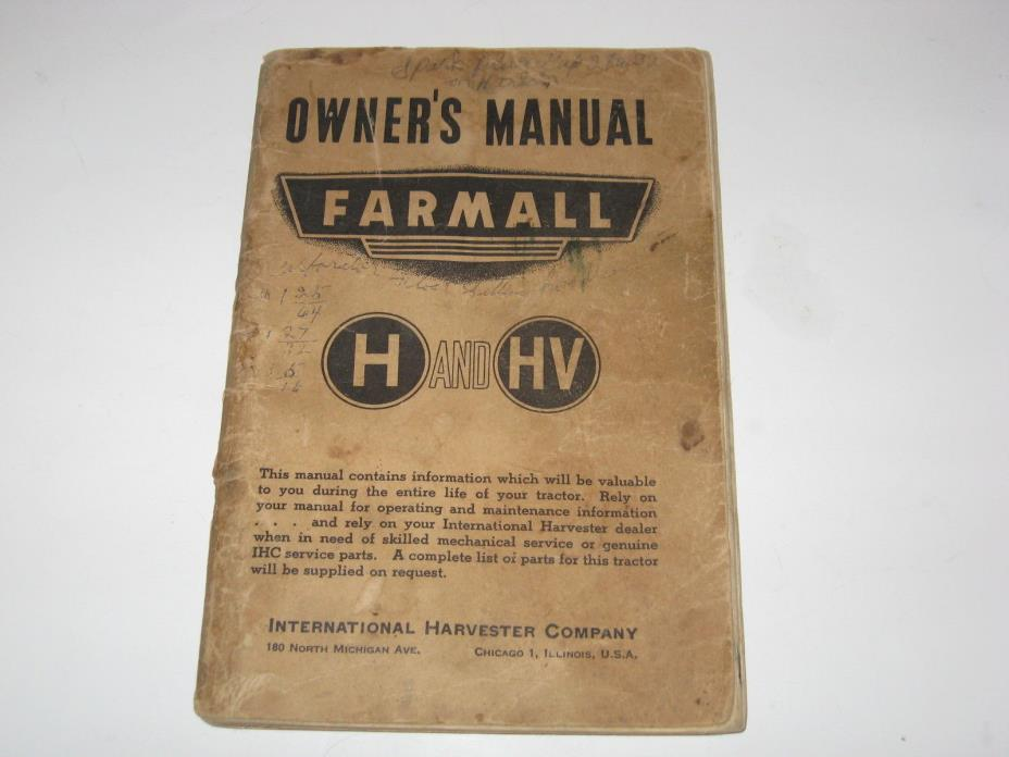 Vintage Farmall International Harvester Co Manual