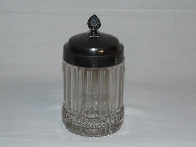 ANTIQUE EAPG EARLY AMERICAN  PRESSED GLASS PICKEL CASTOR JAR & LID RAYED ZIPPER