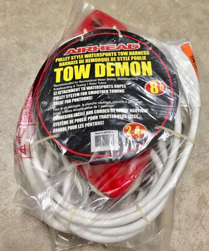 AIRHEAD AHTH-6 8' Tow Demon Watersports Cable Tow Harness New