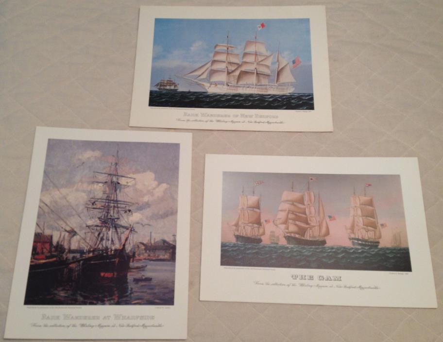 LOT OF 3 NAUTICAL SHIP PRINT Old Dartmouth Historical Society, Whaling Museum MA