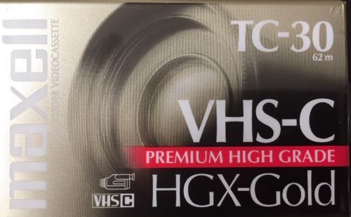 New MAXELL HGX-Gold VHS-C Blank Camcorder Videocassette Tape TC-30 Sealed