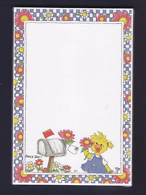 Suzy Zoo Memo Pad ~ Etta Jane at Mailbox w Flower & Checkered Border