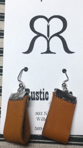 Handmade Leather Loop Dangle Wire Earring- Classic Design In Tan & Silver