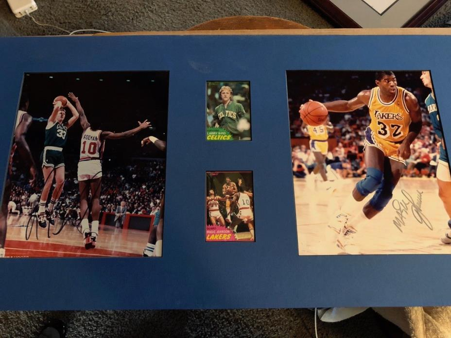 Magic Johnson Larry Bird Autographed 8x10s & Cards Lakers Celtics PSA Gaurantee