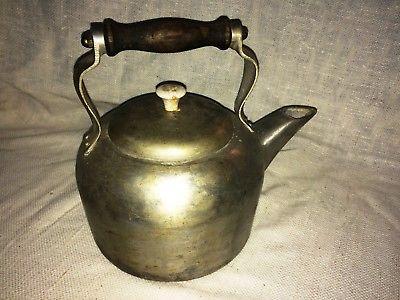 VINTAGE STEEL? ALUMINUM? TEA KETTLE COFFEE POT WITH LID WOOD HANDLE  (MA)