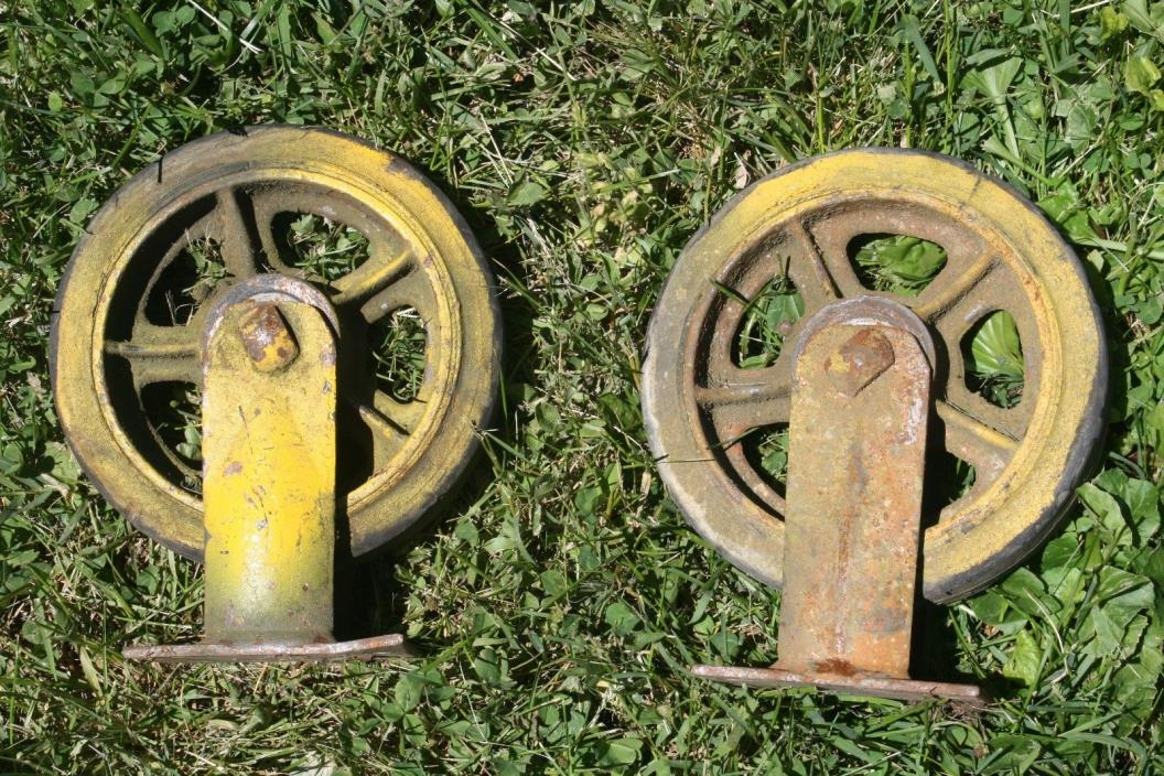 2 Antique Industrial Casters Cast Iron Steampunk Heavy Duty Cart Wheels Table