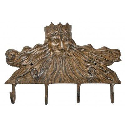 Antique Reproduction Cast Iron Coastal King Neptune Key Hooks