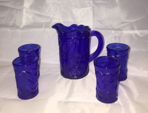 Cobalt Blue Peacock Miniature Pitcher and Four Tumblers
