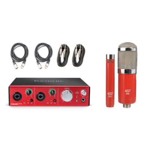 Focusrite Clarett 2Pre Thunderbolt Interface w/MXL 550/551 Condenser Mic+4 Cable